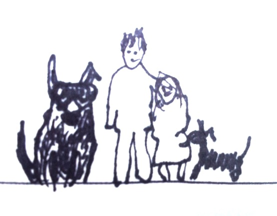 Our family (minus the cat) as drawn by Aaron.