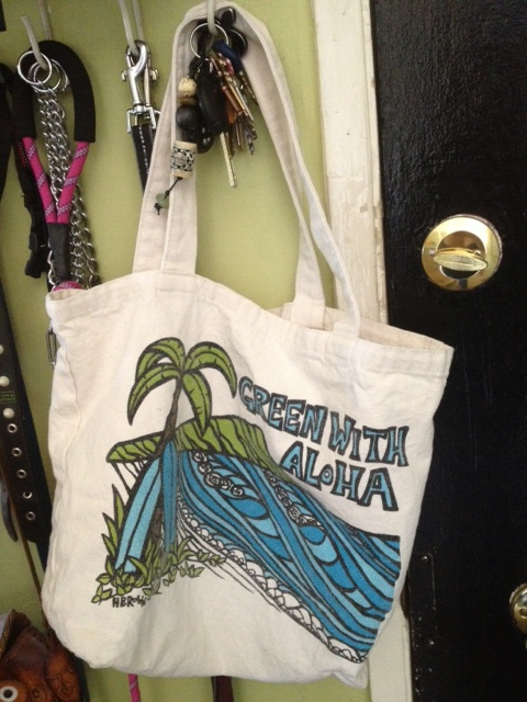 """Green with aloha"" bag by artist, Heather Brown."